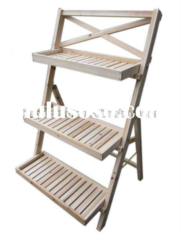 Folding Staircase Style Wooden Garden Flower Stand