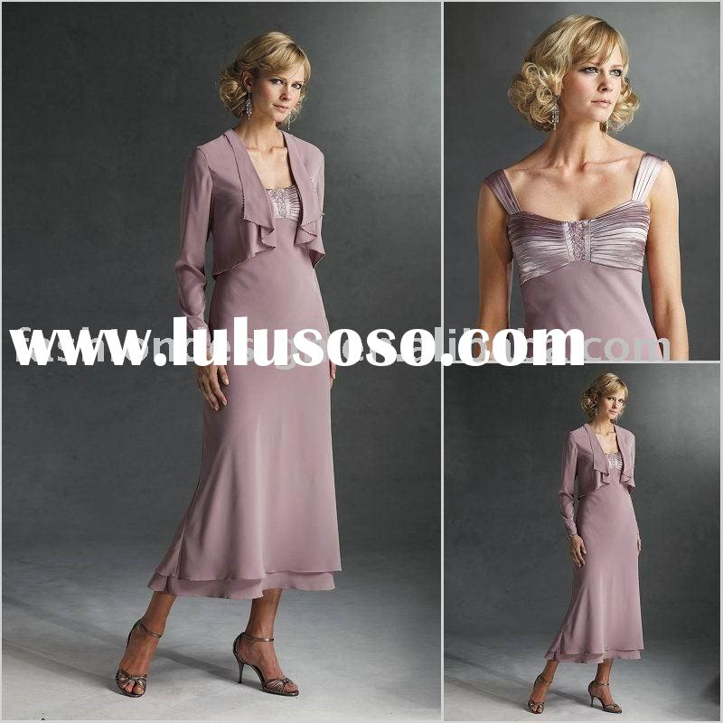 HLM00235 Stylish chiffon long sleeve tea length mother of bride dress