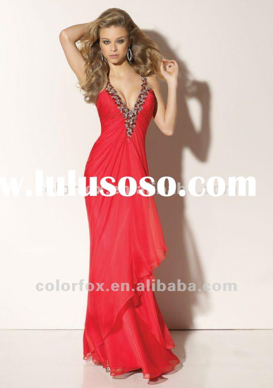 Hot Sale Red Beaded Straps Chiffon Backless Prom Dress