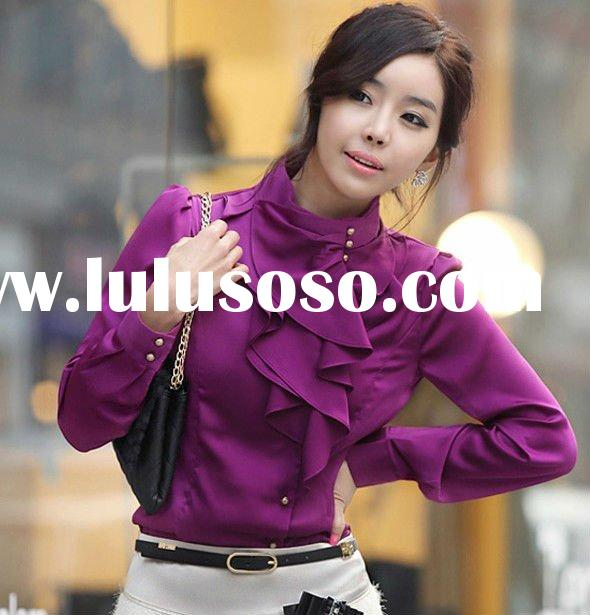 Ladies blouse neck designs High Collar M, L W031