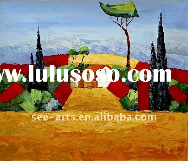 Modern art abstract landscape painting on canvas