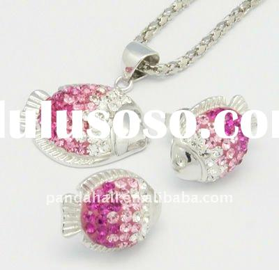 Sterling Silver Austria Crystal Jewelry Set, Pendants and Ear Studs, 209_Rose(SJEW-H004-5)