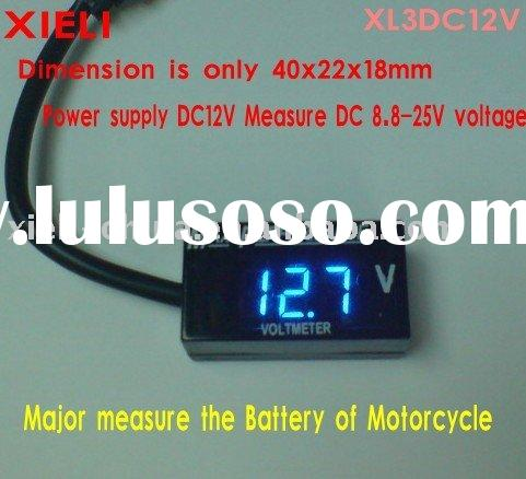 Super-mini voltmeter (dimension 40x22x18mm) display 999 (3digit) major use in motorcycle and electri