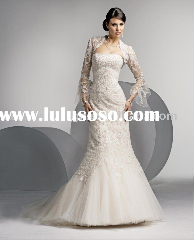 VH1085 long sleeve lace Jacket strapless embroidered mermaid tulle wedding dress
