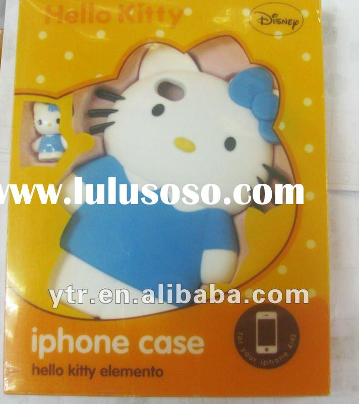 Wholesale - Wholesale - Hello Kitty 3D Hard Case Rubber Back Cover 2 parts Case with Strap colorful