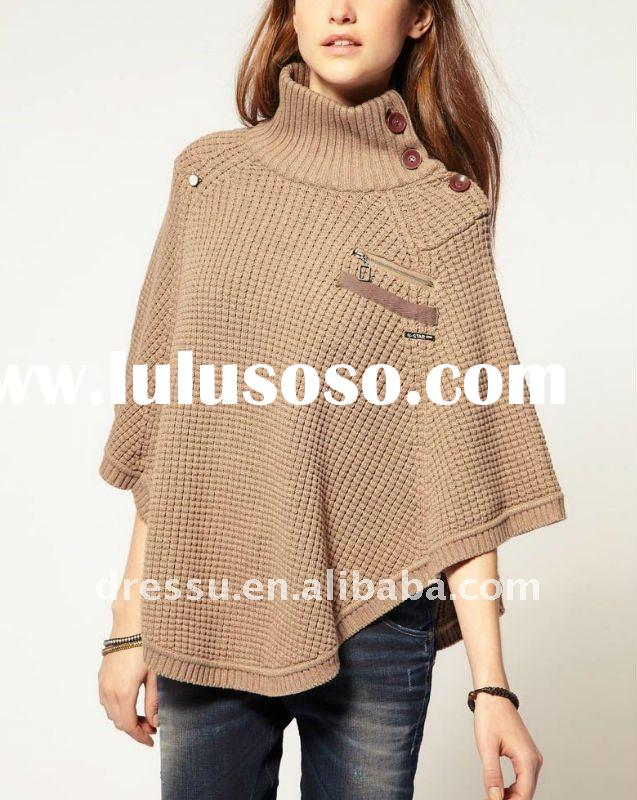Women Latest Design Side Button Knitted Cape/ Wraps/ Tippet