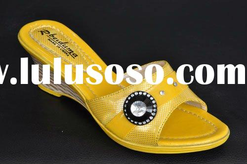 Yellow jeweled high heeled cute girls slipper summer