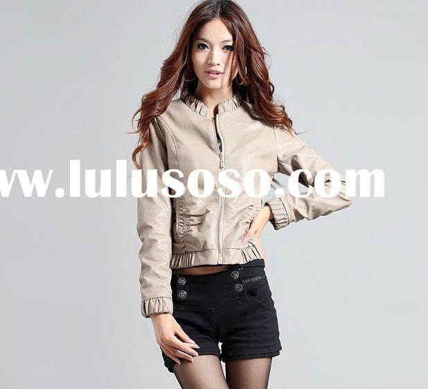 fashion casual women leather jacket