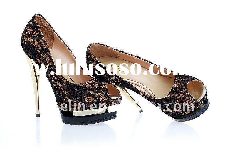large size woman shoes with 2 platfrom and peep toe