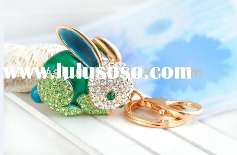 lovely rabbit keychain zinc alloy gold sterling and ZC crystal