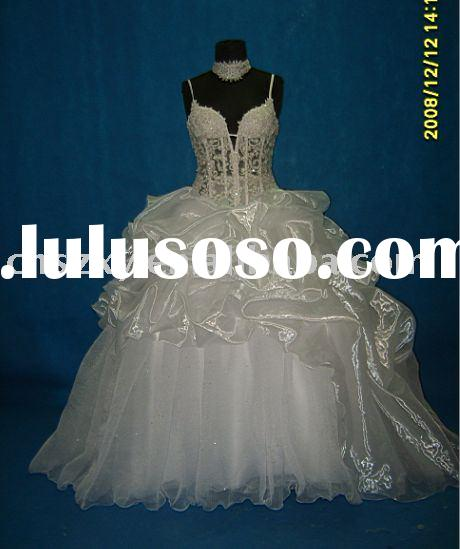 our real model real made prom big skirt Spaghetti Strape Transparent Corset lace Beaded wedding dres