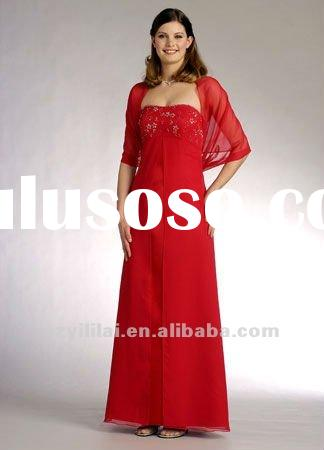 red beaded chiffon long sleeve tea length mother of the bride dress