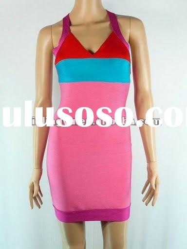 the beautiful lady bandage dress pink and blue color mixed,woman fahsion colorful tight party dress