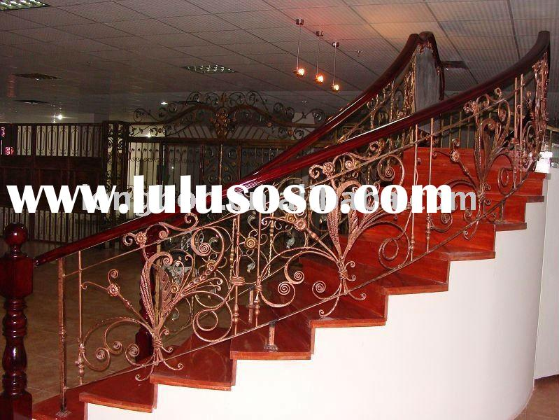 2011 Top-selling hand forged modern wrought iron stair handrails for house(LB-I-H-0003)