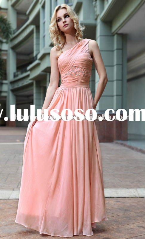 2012 Prom Dress,Light Red Silk Evening Prom Dresses with One shoulder & Crystals (NBY0DR30845)