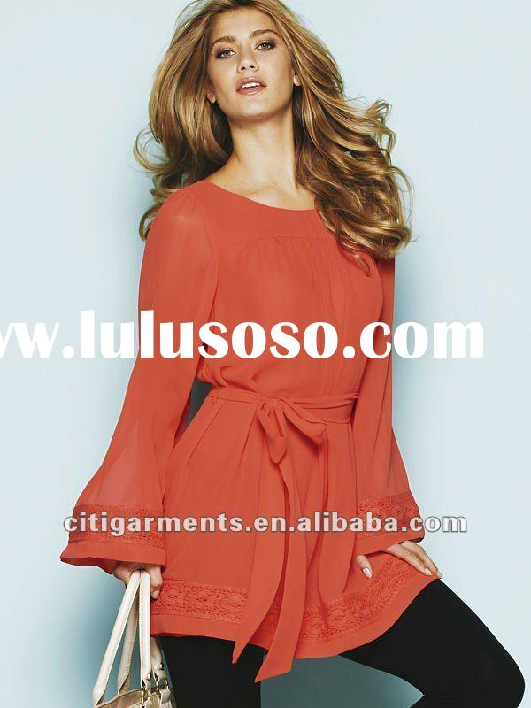 2012 hot selling fashion ladies tops Long Sleeve Tunic new design women tops and blouses