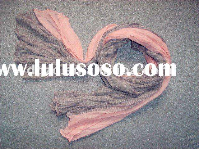 2012 new style pink dot pattern polyester voile scarf