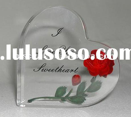 Acrylic Red Rose Wedding Gift/Engraved Crafts Acrylic Gifts