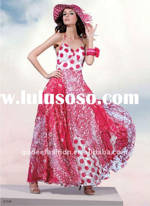 Charming floral printed ladies maxi dress with spaghetti straps