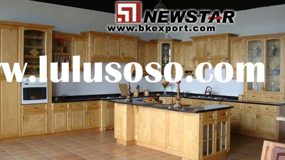 Kitchen Cabinet (Solid Oak Wood Kitchen Furniture with Granite Counter Tops and Stainless Steel Sink
