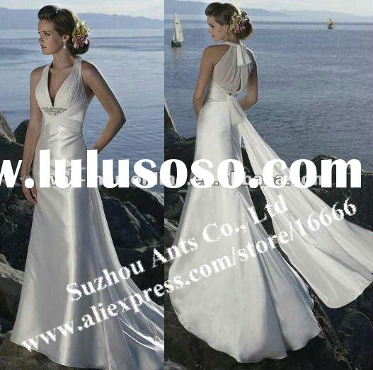 MG0217 A-line V-neck Halter White Satin Beach Beautiful Back Wedding Dresses