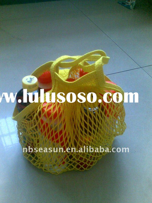 Organic cotton string bag for shopping, mesh design