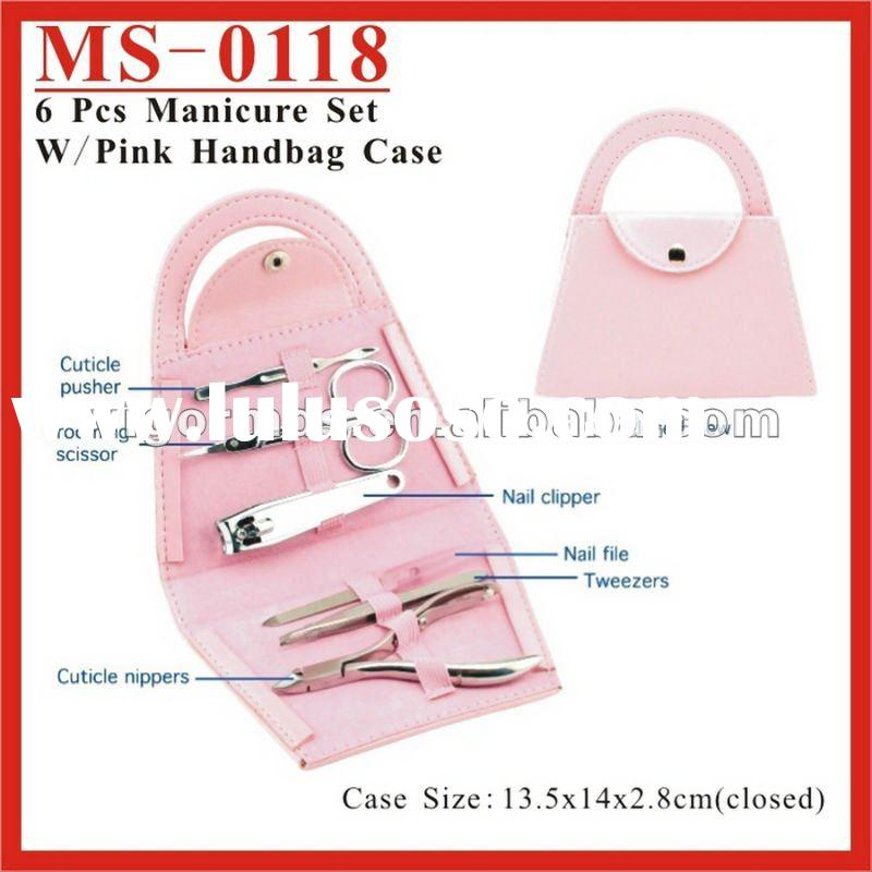 (MS-0118) 6 pcs Pink Manicure Set Pedicure Set with Handbag Shape Case