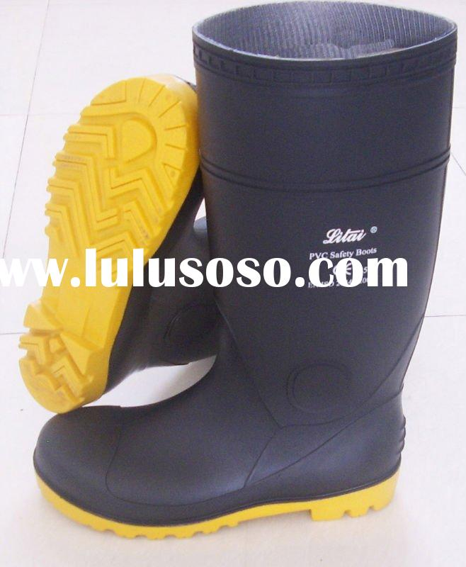 black industrial safety boots with steel toe
