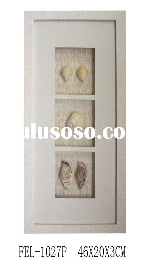 wooden shadow box frame with sea shell