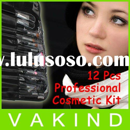 12 Pcs Professional Cosmetic Make Up Brush Sets Kit With Black Leather Case