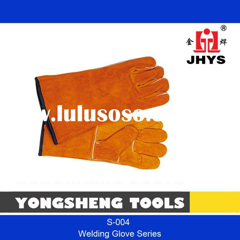 "14"" YELLOW COW LEATHER WELDING GLOVE WITH FULL FLANNEL LINING"