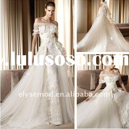 2011 Romantic A-Line Strapless Ivory Tulle Lace Applique Wedding Formal Gowns