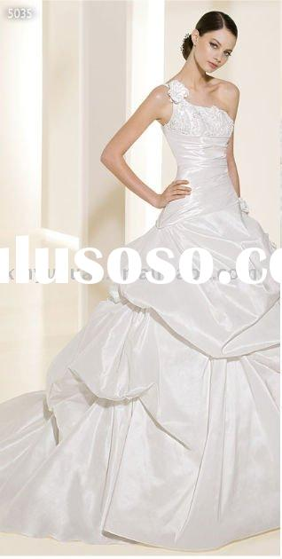2011 single strap applique ball gown style strapless wedding dresses ADW-034