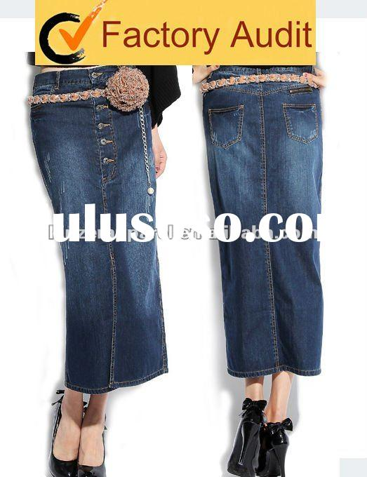 2012 latest elegant long denim skirts womens