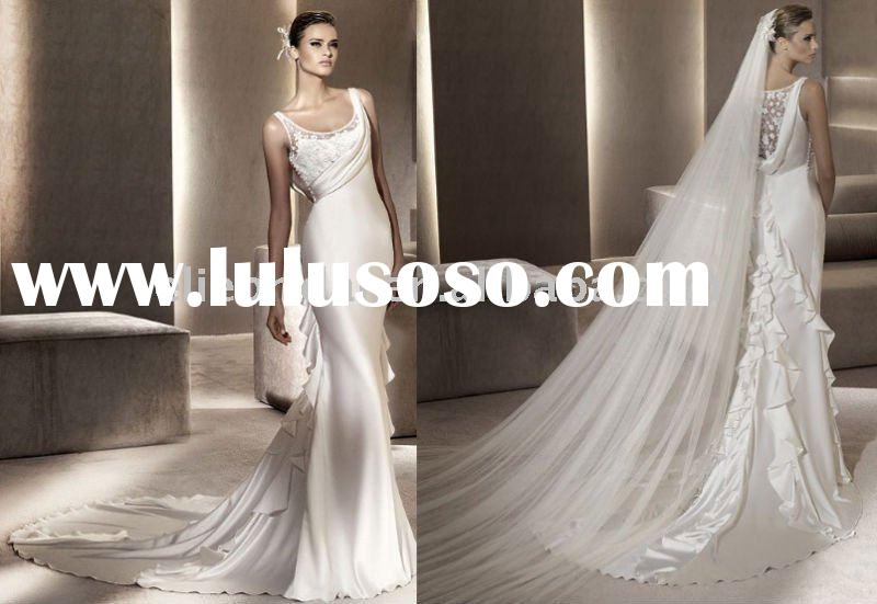 A Line Spaghetti Strap Applique Pleated Grecian Style Long Train Wedding Dresses