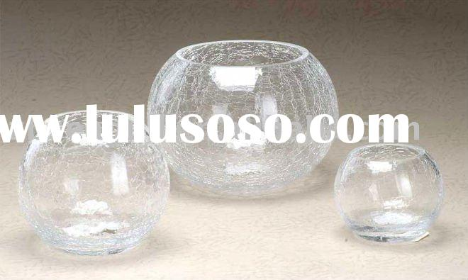 Ball-shape Glass Vase with Cracked Vein