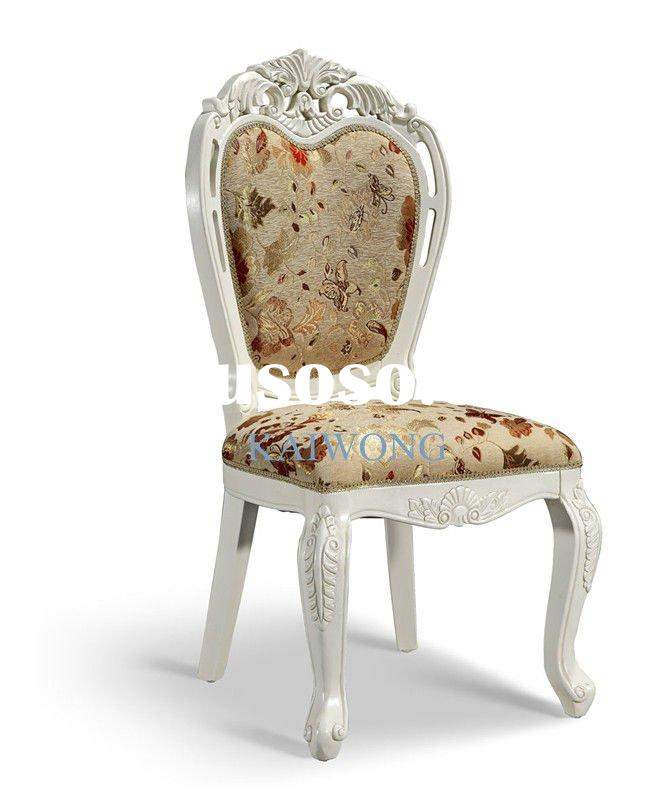 EB002 best selling ivory white carved fabric wood restaurant chair