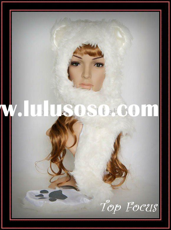 FLUFFY CARTOON ANIMAL HAT WITH SCARF GLOVES