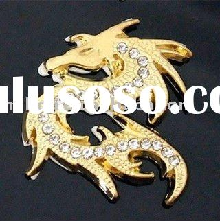 High quality 3D sticker ,Stereo feeling,Fashion Car stickers,golden dragon Nickel alloy logo design