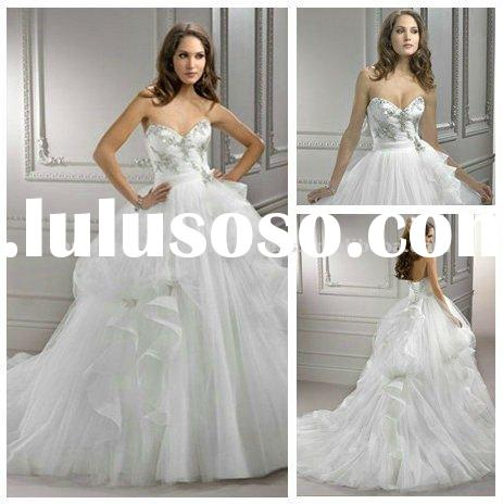 Ivory Tulle Ball Gown Long Train Bride Wedding Gowns 2012