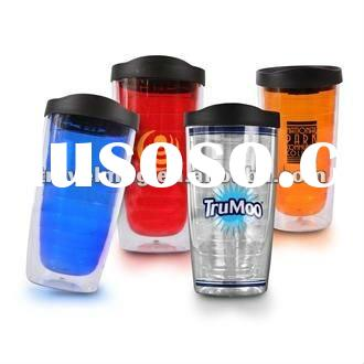 New design Double Wall Plastic tumbler with straw lid