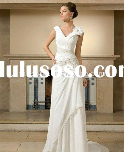 OEM classic sleevelessV-neck sheath chiffon beach casual wedding dress