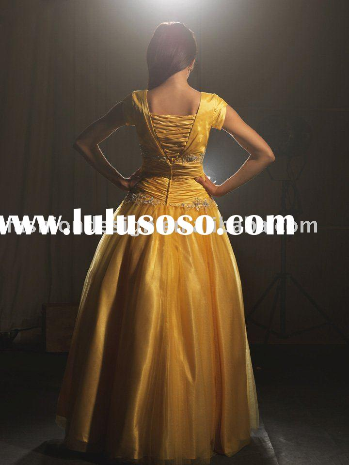 P137 Yellow tulle over satin beaded short sleeves prom dresses