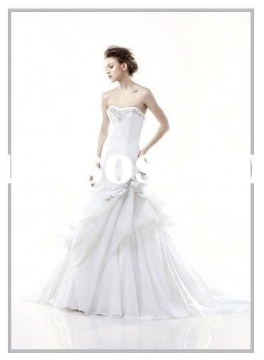 Precious scoop stone neckline modified A-line skirt wedding dress