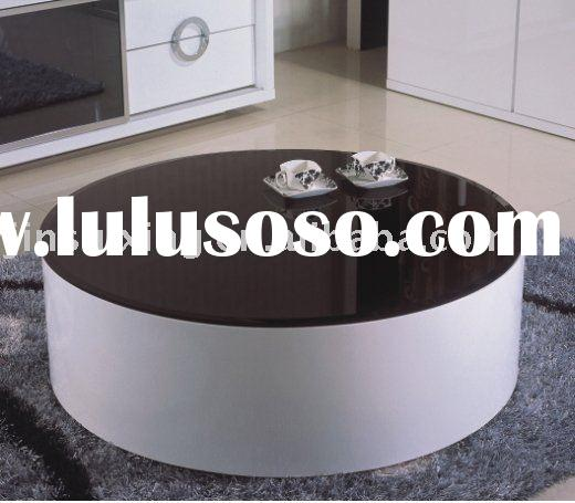 Round Glass Coffee Table (Mdf High Gloss) C12#