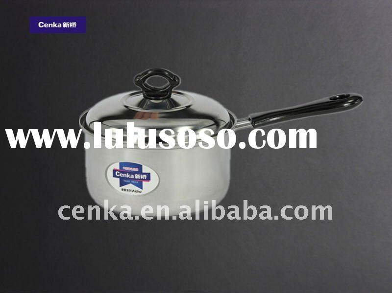 Stainless steel pot with single handle