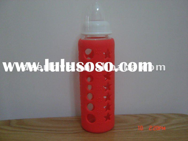 baby glass feeding bottles with silicone sleeve