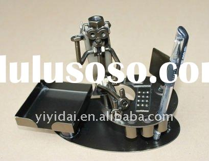metal craft figurines with pen holder business card stand unique Christmas gift