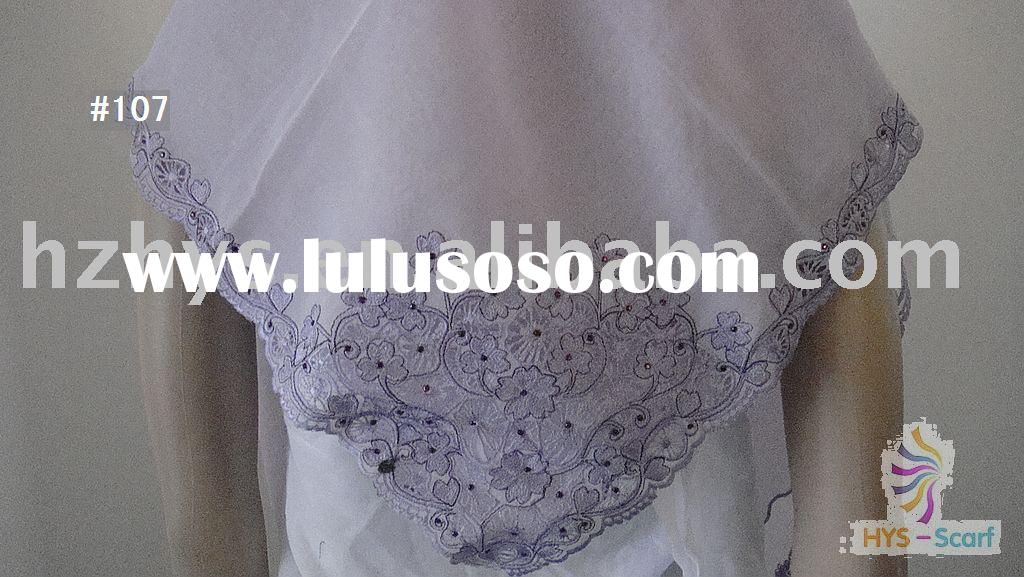 muslim polyester African voile lace scarf textile