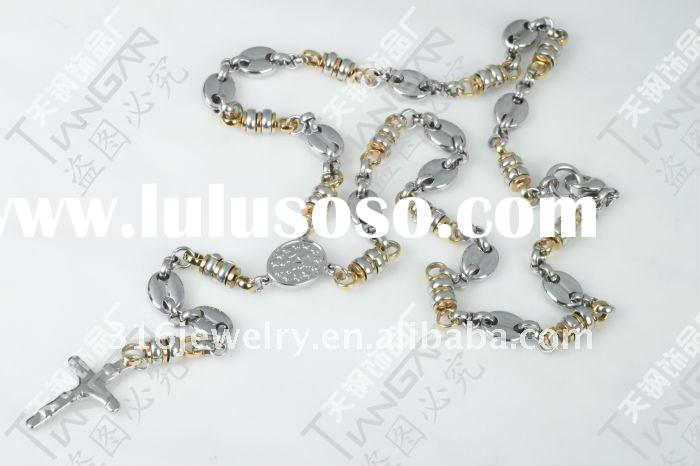 new hot sale fashion classical stainless steel gold plated IP rosary pendant chain TG19